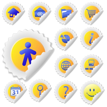 shopping questions: Yellow and Blue Sticker Icon Set, with peels. Web Icons: Home; Email; File; Shopping Cart; Lock; Search, etc.