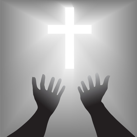 A pair of hands reach out toward a radiant shining cross in supplication, prayer for salvation. Ilustração