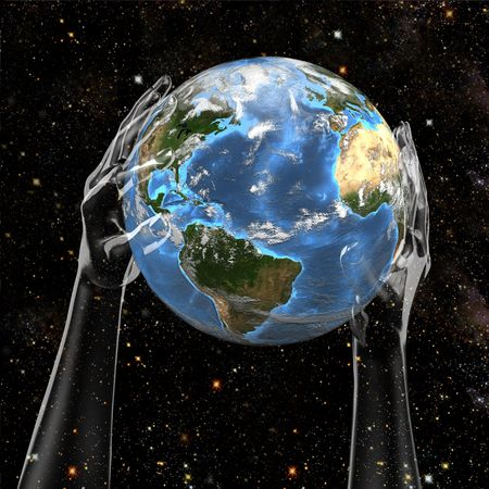 hand held: Planet Earth held in cosmic star space by invisible hands.