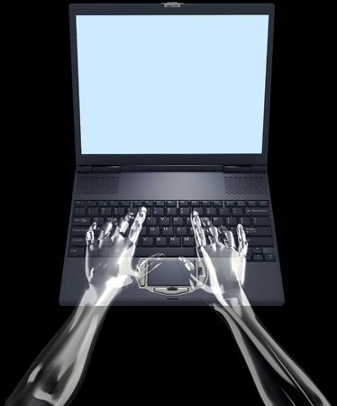 laptop screen: Translucent glass hands type on laptop keyboard, space in the screen for your graphic and text.