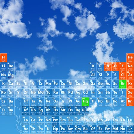 table: Complete Periodic Table of the Elements, including atomic number, symbol, name, weight, in a skyscape.