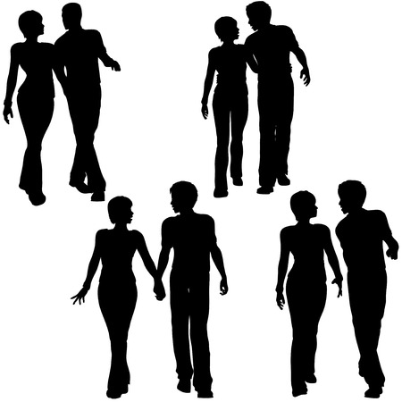 date: Collection of 4 silhouettes of young couples - men and women - walking together. Arm in arm, holding hands. Illustration