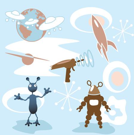 레트로 futurisic 50의 우주 요소 컬렉션 : 로켓; 블래스터; 화성 공격; 기계 인간; 더.