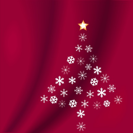 Snowflakes form a Christmas tree, with a star on top, on a red velvet background.