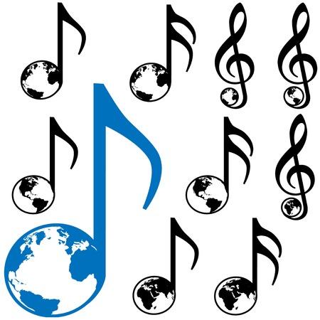 Set van Negen World Music symbolen. 3 verschillende aarde globes: Atlantische Oceaan; Amerika, Oost-halfrond