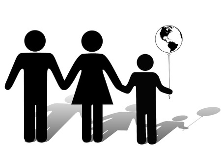 that: A family, a kid holds the earth in hand as a balloon, symbol that kids are hope for the future of the world.