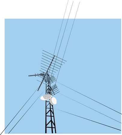 Een toren recapituleert de geschiedenis van de moderne communicatie, van bedraad naar draadloos. Stock Illustratie