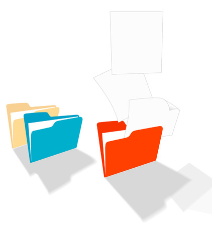 become: Files fly from a colorful file folder and become... copyspace!!! Illustration