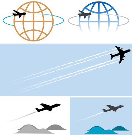 Your travel and other airplane-related graphics will take off with these high-flying icons/illustrations. Clean render of a vector. Stock Vector - 2046982