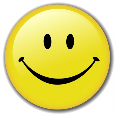 smiley face icon: A Happy Smiley Face Button, or Badge, or Icon. Have a nice day! Clean render of a vector.