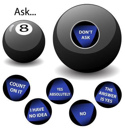 Ninguna de las respuestas a esta Virtual Oracle Bola Ocho son los mismos que los que aparecen en cualquier otra bola 8 mágica de juguete.  Ilustración de vector