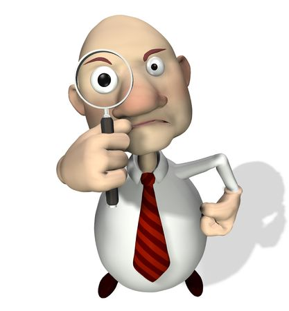 An interviewer or inspector putting the viewer under scrutiny.