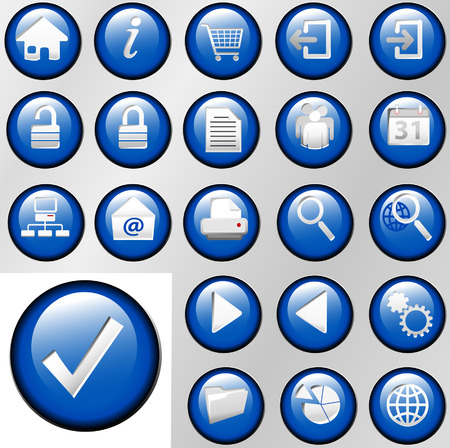 piechart: Set of shiny blue inset Control Button Icons for white or gray backgrounds.