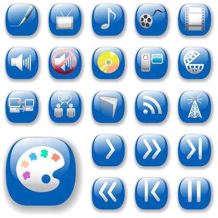 dropshadow: Your set of shiny button icons is ready. The blue digital art, media, communication collection. Illustration