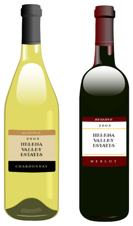 Classic, attractive bottles of wine. Bordeaux shape for red, Rhone shape for white. Label elements are on separate layers, so text is easily replaced by yours.
