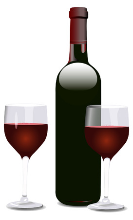 Bordeaux shaped red wine bottle, and two wine glasses. Each element and the shadows on separate layers. Ilustracja