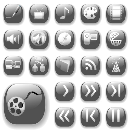 Your set of shiny button icons is ready. The gray digital art, media, communication collection.