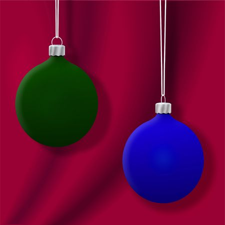 Two Christmas ornaments, in velvet flat matte Green and BlueGreen on Red background. 3D render.
