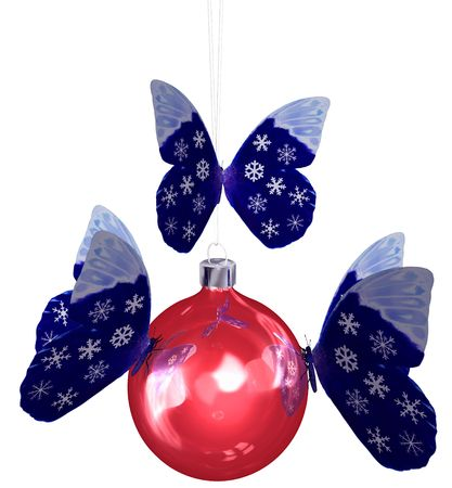 swarm: Butterflies snowflake butterfly wings swarm to decorate a shiny red Christmas ornament. 3D illustration.