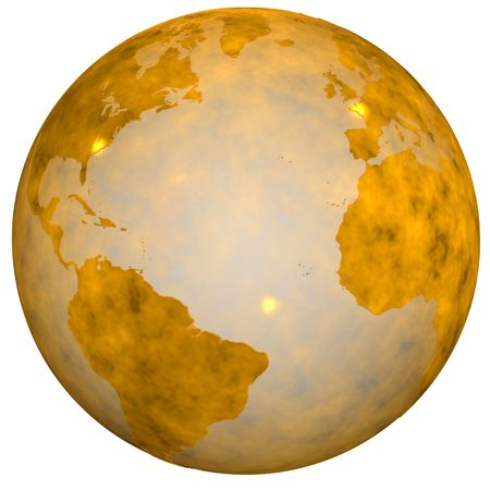 hemispheres: A Gold Textured Earth Globe, golden view of eastern and western hemispheres. 3D illustration