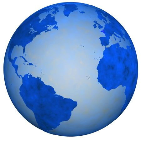 hemispheres: A Big Blue Textured Earth Globe, view of eastern and western hemispheres. 3D illustration
