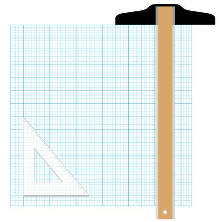 hoja cuadriculada: Dibuje su gr�fica plan en este gr�fico copia en papel el espacio. Volver a la pre tablero de dibujo CAD con T-Plaza y Trangle Tool.
