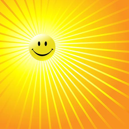 抽象的な空で輝く黄色の太陽として、光沢のある黄色のスマイリーの幸せそうな顔。よい一日を!
