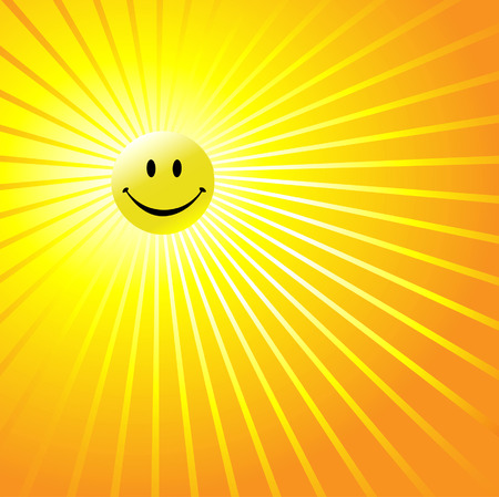radiant: A shiny yellow smiley happy face as a radiant yellow sun in an abstract sky. Have a nice day!