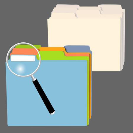 Eine Reihe von Datei-Ordner in verschiedenen Farben, und ein weiteres in Manilla. Auch eine Lupe, um anzuzeigen: Suchen, Forschung, und so weiter. Standard-Bild - 2168574