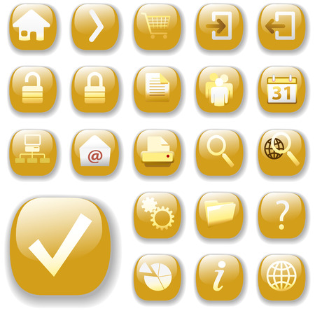 security symbol: Set of shiny gold Control Button Icons, internet web page navigation symbols. Illustration