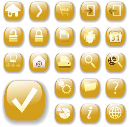 web icons: Set of shiny gold Control Button Icons, internet web page navigation symbols. Illustration