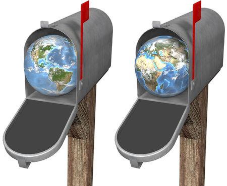 eastern europe: The world delivered to a mailbox, in eastern hemisphere and western hemisphere globe set. 3D render illustration
