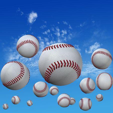 aloft: A group of baseballs set in a high cloud blue sky. Fly balls fly. Home runs. 3D illustration.
