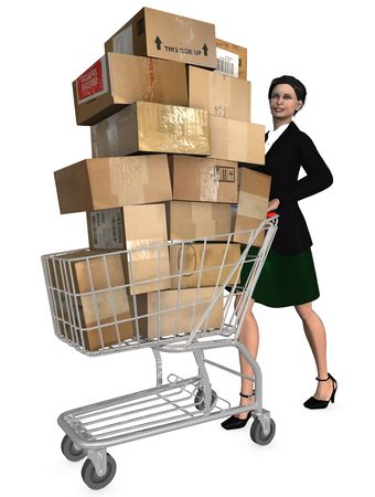 checkout: Business woman pushes shopping cart & stack of shipping carton packages, internet mail orders to online checkout. in this 3D render illustration (not a photo).