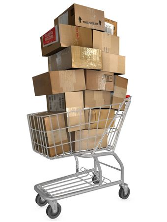 checkout: Shopping cart & stack of shipping carton packages; internet mail orders; online checkout.