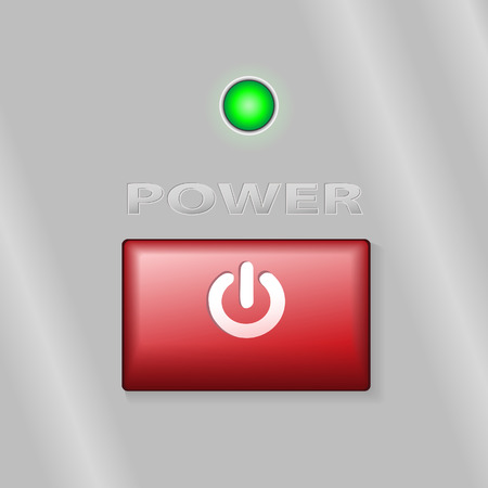 led: A bright red rectangular  power on button on a metal background, with a green LED light.