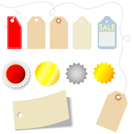 dropshadow: Set of assorted price tags and stickers on white. Illustration