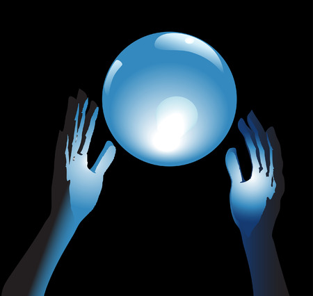 Hands reach for a shiny, crystal ball in blue glow, a backround for fortune, forecast, answers to questions. Ilustração