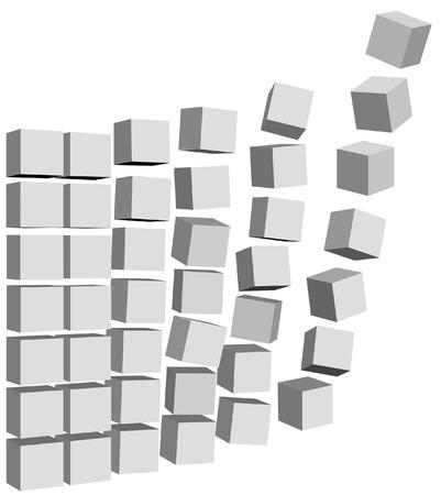 抽象立方要素、ボックス、カートン、またはデータ パケットを配送先に送る。
