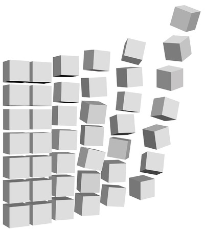 Send abstract Cubic Elements, Boxes, Cartons, or Data Packets up and out to a shipping destination. Иллюстрация