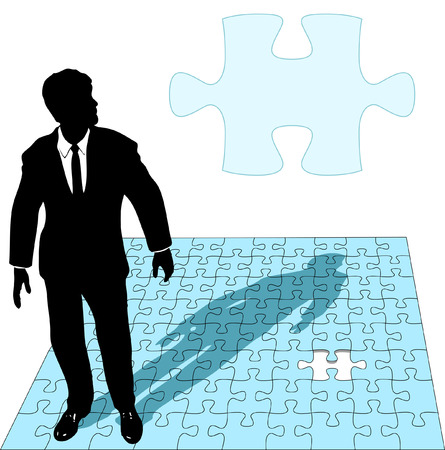 missing puzzle piece: A business man in a suit works the last missing piece of a jigsaw puzzle solution, as copyspace. Illustration