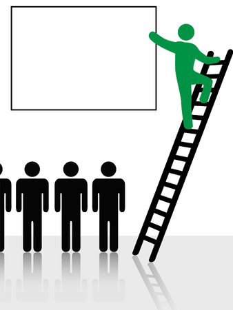 climbing up: Person climbs a ladder to raise and point to information or ad copy in a copyspace sign background.