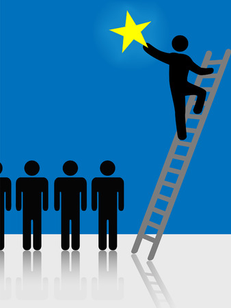 Person climbs a ladder to success to raise a star. Symbol of stardom, celebrity, successful people, hope. Çizim