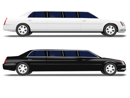 limo: A black limo and a white limousine for prom and business travel , wedding celebration transportation.