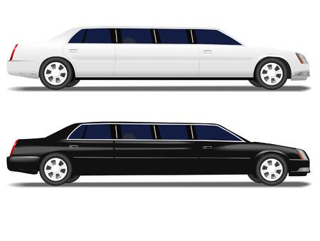 Eine schwarze Limousine und eine weiße Limousine für PROM und Geschäftsreisen, Hochzeiten Feier Transport.