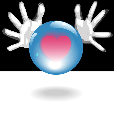 Fortune Teller hands around a shiny crystal ball predict a bright future of love, romance, affairs of the heart.