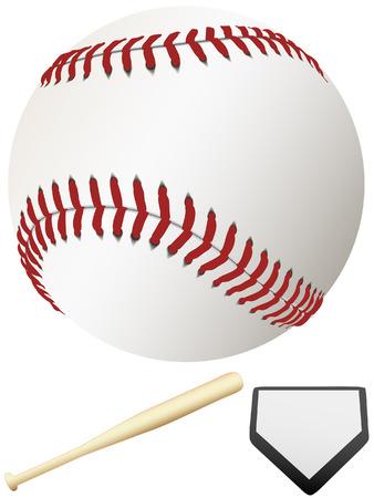 Een schone, witte major league baseball, klaar voor de lente opleiding & te gooien uit het eerste veld van het seizoen. Home Plate & bat.  Stock Illustratie