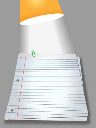 educational materials: Pages of wide ruled notebook paper on gray background - bright study lamp light, drop shadow, & highlight, for your homework assignment.