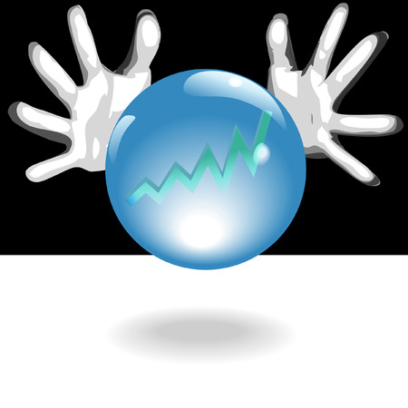 forecaster: Business Forecaster hands around a shiny, crystal ball with blue glow, predict a bright future of profit in a chart - graph. Illustration