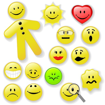 of fresh smiling faces, on shiny buttons, with shadows. Expressive Emoticons: Happy, Smiley, Poison, Sunny, OMG, Woozy, Big Grin, Etc. Vector
